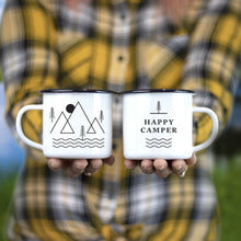 Journo Happy Camper Enamel Camping Mug - Black, 10 Oz (295 ml), Ecofriendly Outdoor Camper Mugs