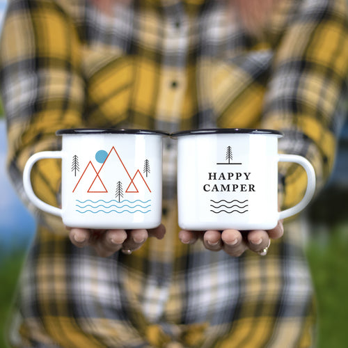 Classic 'Happy Camper' Enamel Camping Mugs - SET OF TWO!