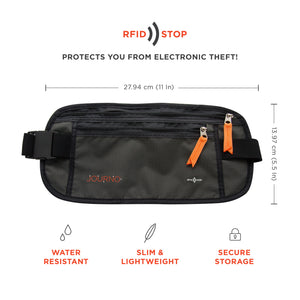 Travel Money Belt - RFID-Blocking Waist Wallet, Black.
