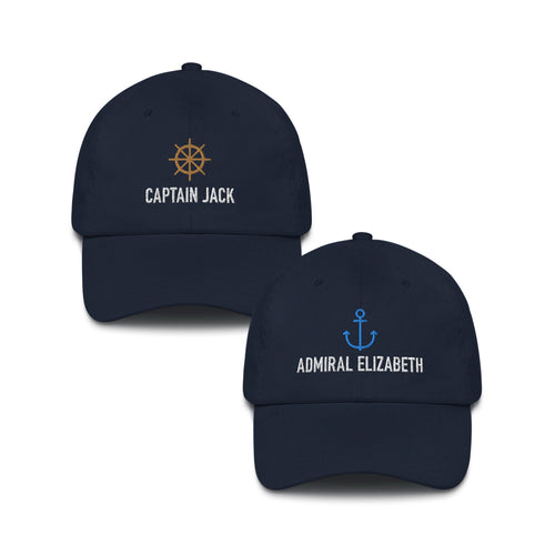 Captain & Admiral Hat Set - Personalized Embroidered Caps