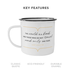 The World Is A Book Camping Mug - Unique 10oz Enamel Mug For Any Adventure