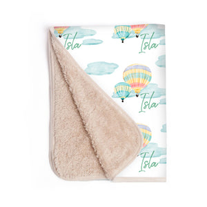 Personalized Sherpa Baby Blanket - Cute Hot Air Balloon Ride With Infant's Name
