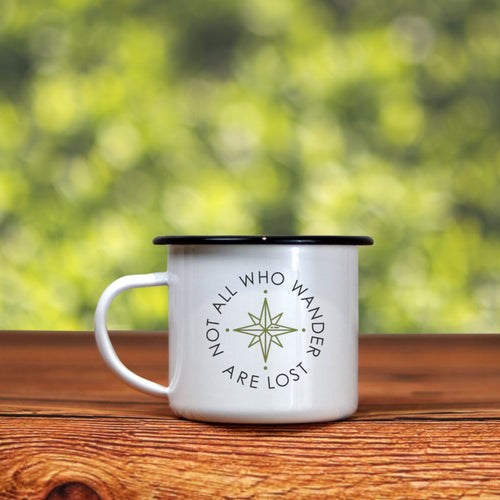 The 'Not All Who Wander Are Lost' Enamel Camping Mug - Cool Compass Version