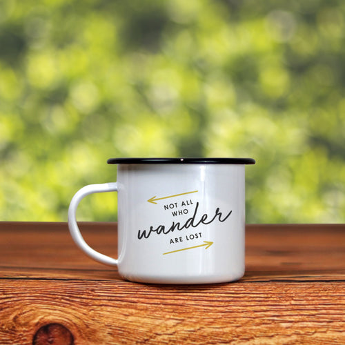 The 'Not All Who Wander Are Lost' Enamel Camping Mug - Unique Arrows Version