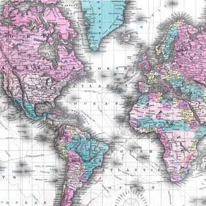 Vintage Map of the World Wrapping Paper - Spectacular Colton 1855 Edition.