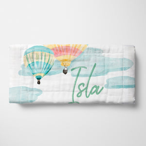 Personalized Hot Air Balloon Ride Burp Cloth