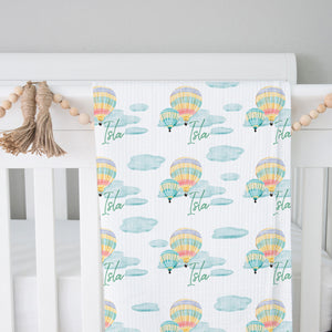 Personalized Hot Air Balloon Ride Swaddle Blanket