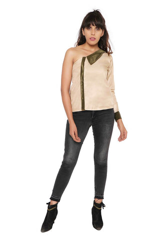 Buy Tops Online in India- Asymmetric Collared Top