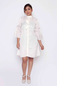 Extended Placket Knot 'A'Line Shirt Dress