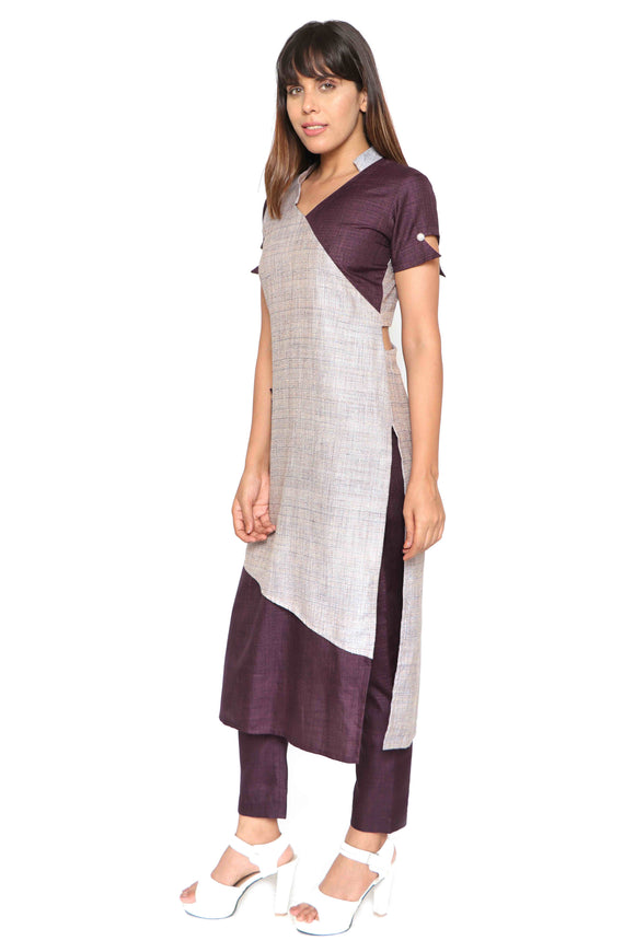 Asymmetric Surplice Neck kurta