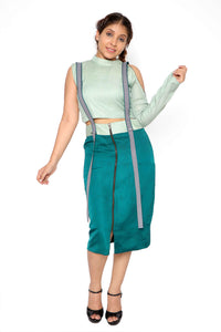 Suspender Styled Zipper Skirt Co-ordinate