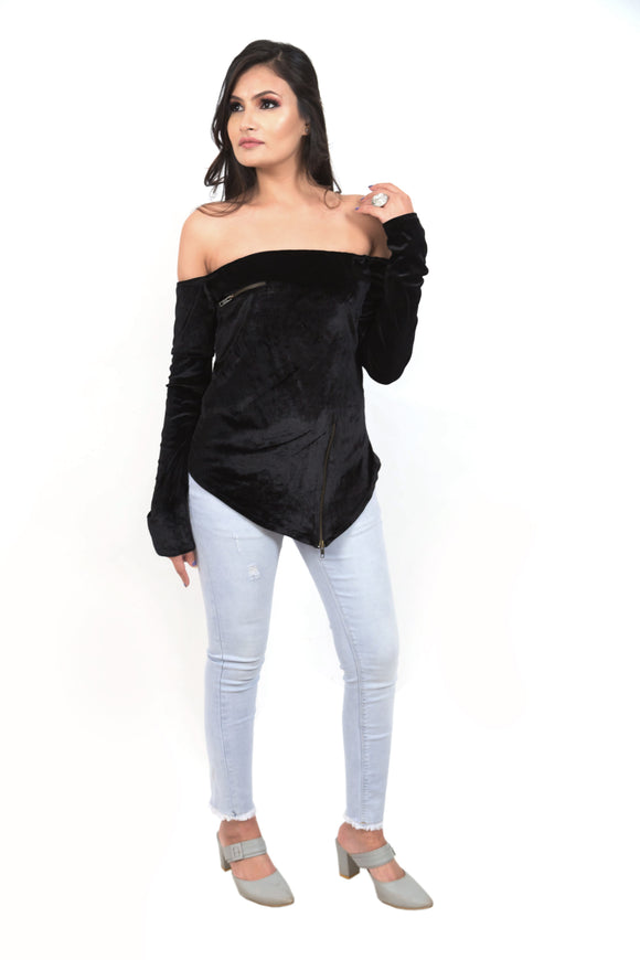 Asymmetrical Zipper Top