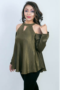 Cold  Shoulder Fluid Tunic Top