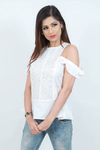 Open Shoulder Embroidered Peplum Top
