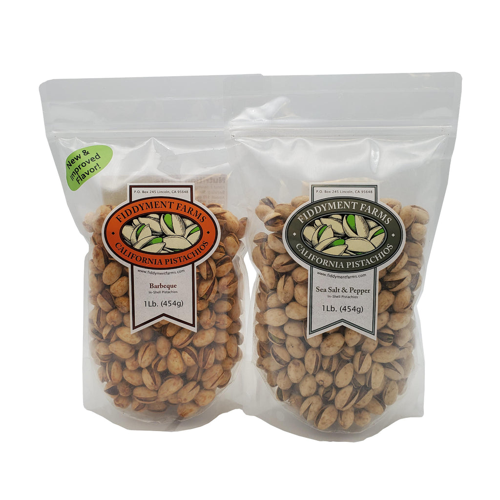 Barbeque Pistachios and Sea Salt & Pepper Pistachios in 12 oz bags