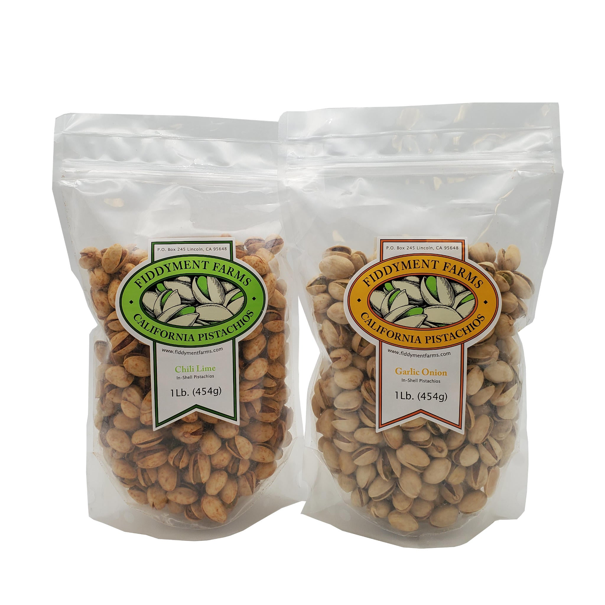 Chili Lime Pistachios and Garlic Onion Pistachios in 1 lb bags