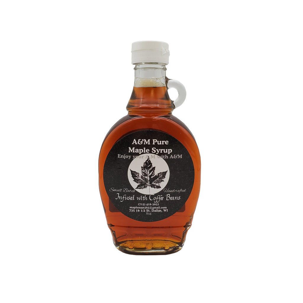 Coffee Infused Maple Syrup in 8 oz jar