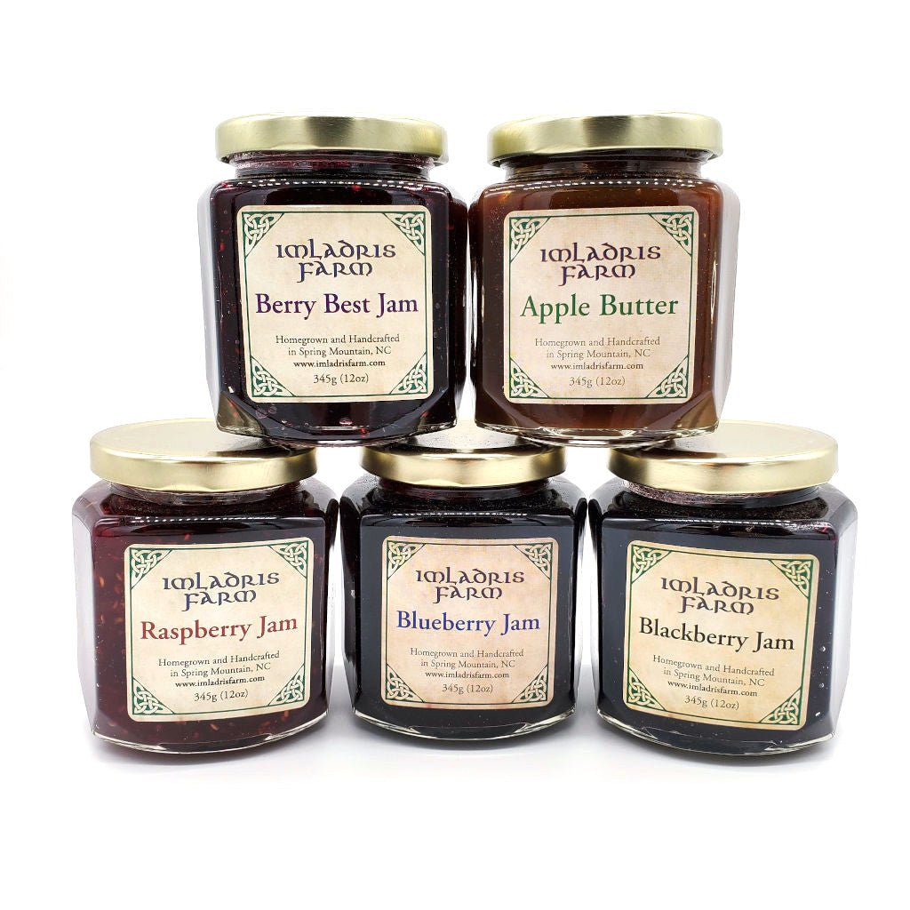 Blueberry Jam, Blackberry Jam, Raspberry Jam, Berry Best Jam, and Apple Butter in 12 oz jars