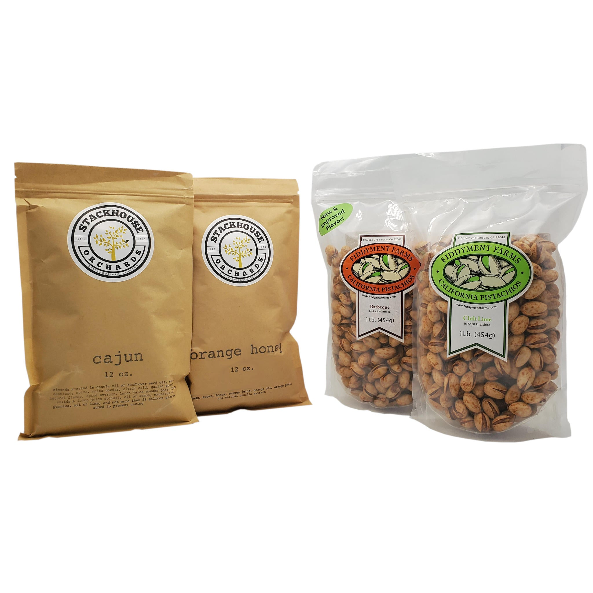 Cajun Spice Almonds 12 oz. bag, Orange Honey Almonds 12 oz. bag, Chili Lime Pistachios 1 lb. bag, Barbeque Pistachios 1 lb. bag