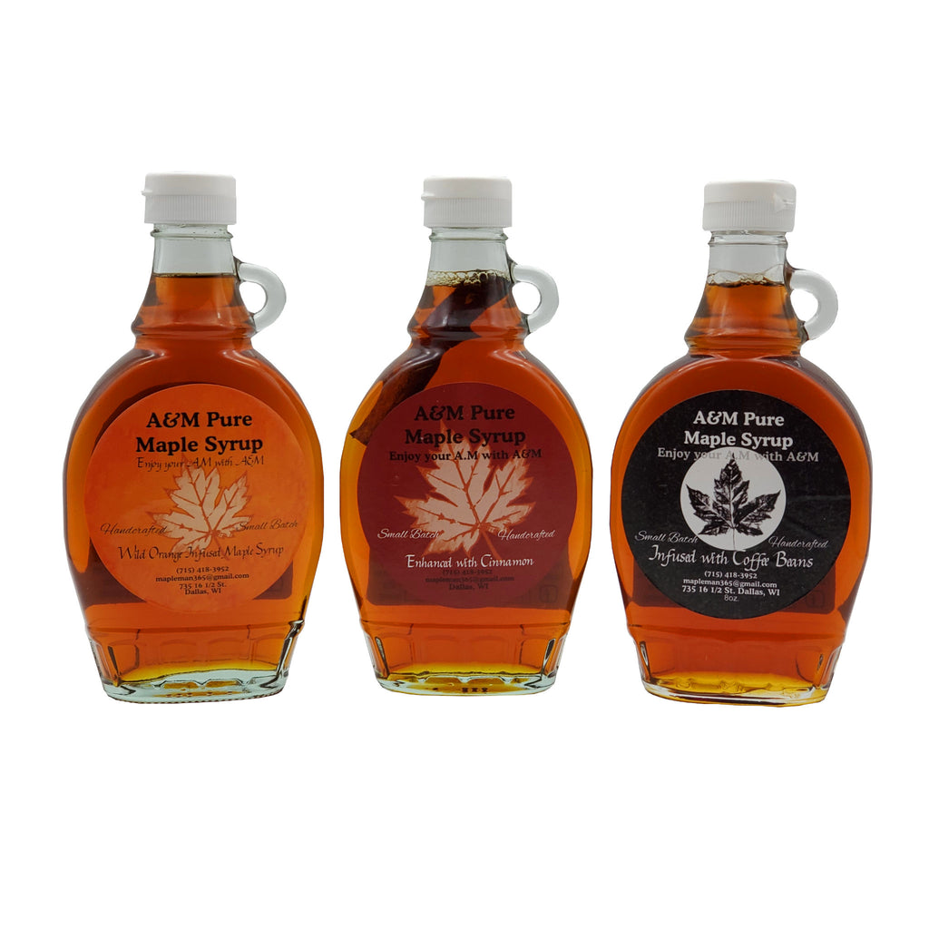 Three bottles of Specialty Infused Maple Syrup, Wild Orange Infused, Cinnamon Infused, Coffee Infused, 8 oz. bottles