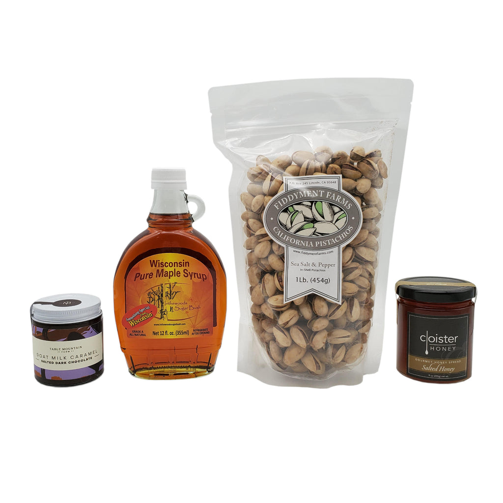 12 oz jar of pure maple syrup, 5 oz jar of salted dark chocolate goat milk caramel, 1 lb bag of sea salt and pepper pistachios, and 9 oz jar of salted honey
