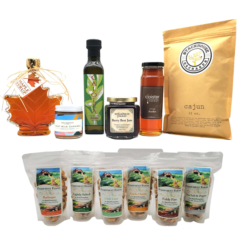 Bourbon Infused Maple Syrup in 12 oz jar, Pure Maple Syrup in 12 oz bottle, Extra Virgin olive Oil in 250 ml bottle, Berry Best Jam in 12 oz jar, Pistachios six pack sampler in 2.5 oz bags, 5 oz jar of vanilla bean goat milk caramel, 12 oz bag of Cajun Spice almonds