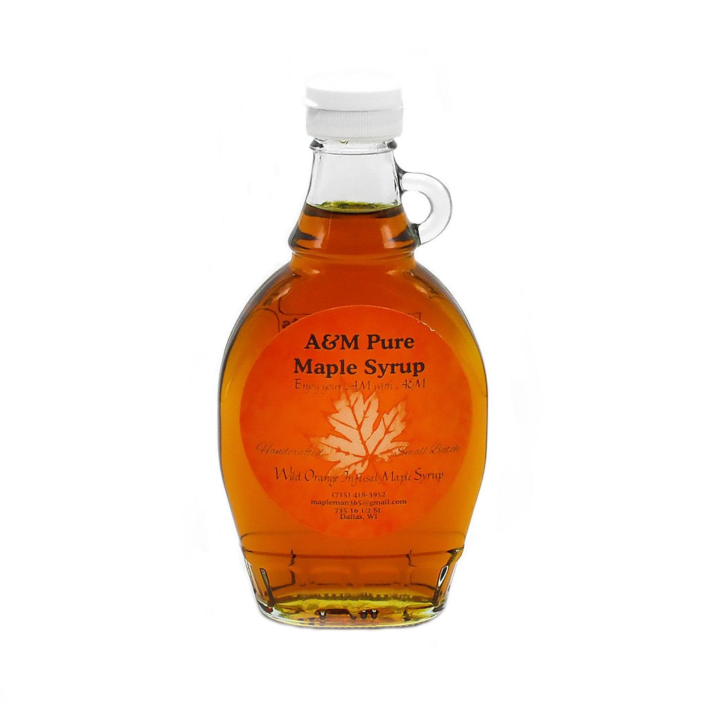 Wild Orange Infused Maple Syrup in 8 oz bottle