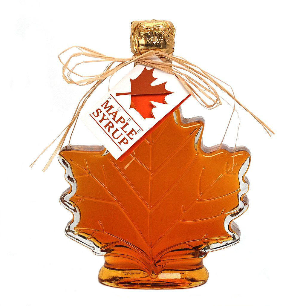 Pure Maple Syrup in Maple Leaf Glass Bottle