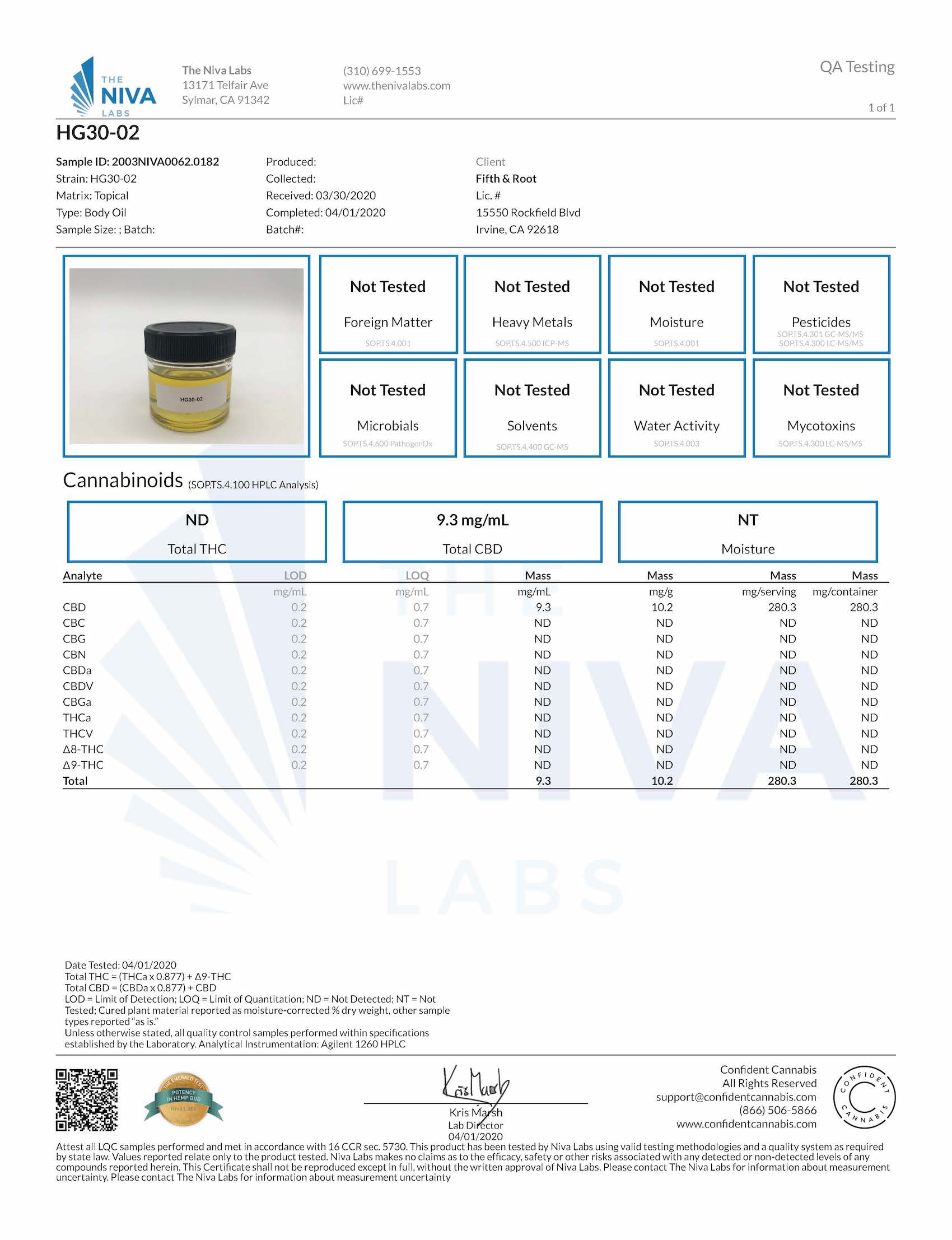 High Glow Radiance Facial Oil Certificate of Analysis
