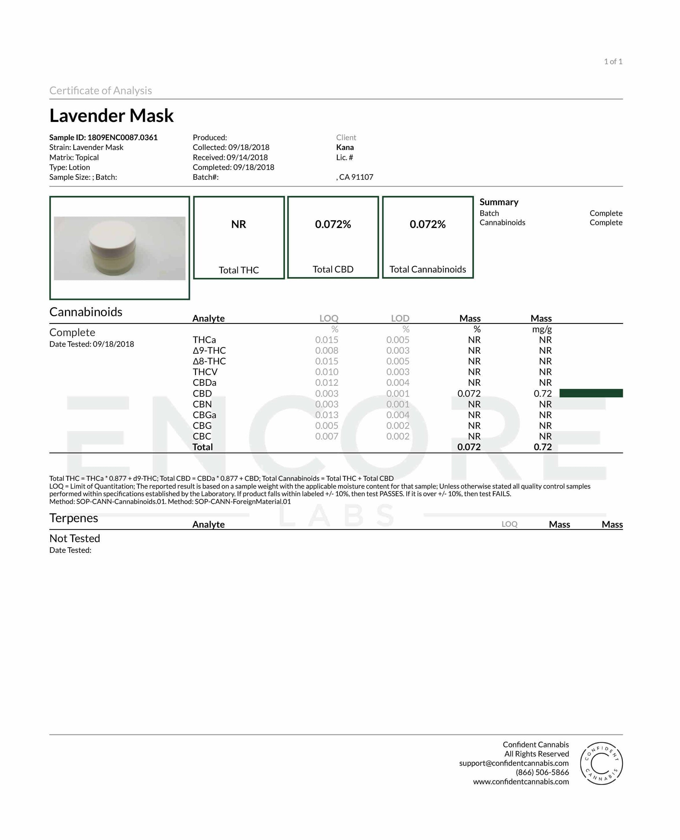 Lavender Hemp Sleeping Mask Certificate of Analysis