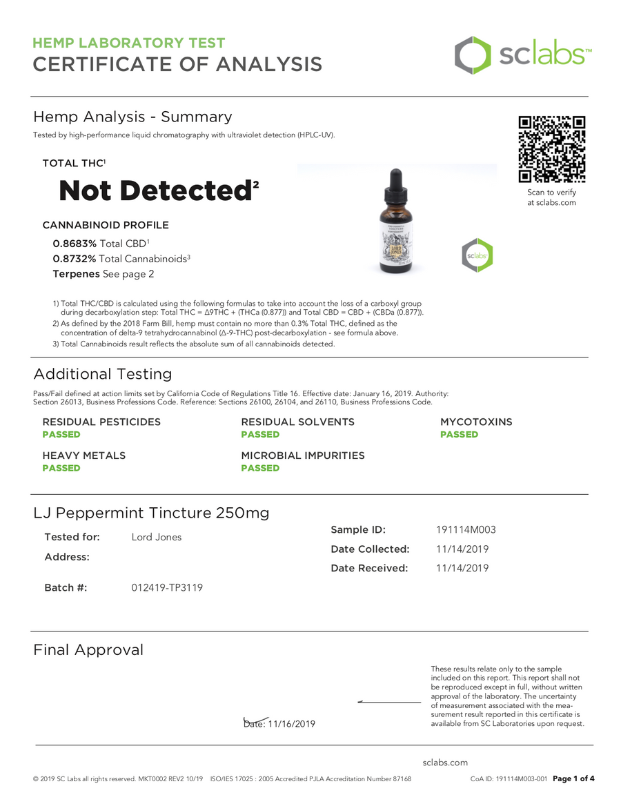 Lord Jones Peppermint Tincture Certificate of Analysis