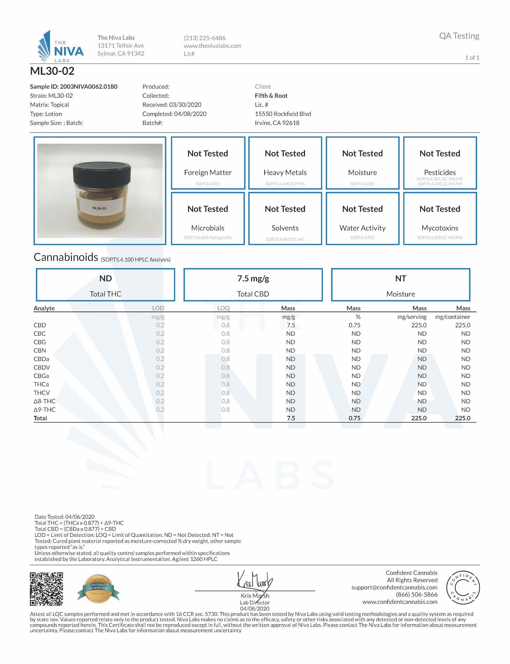 Moonlight Cooling Glow Mask Certificate of Analysis