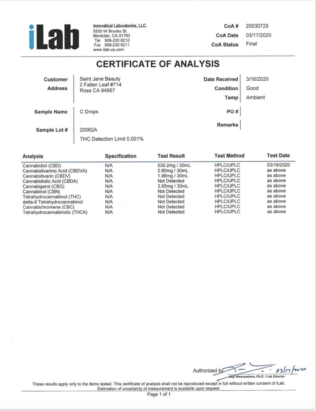 The C-Drops Certificate of Analysis