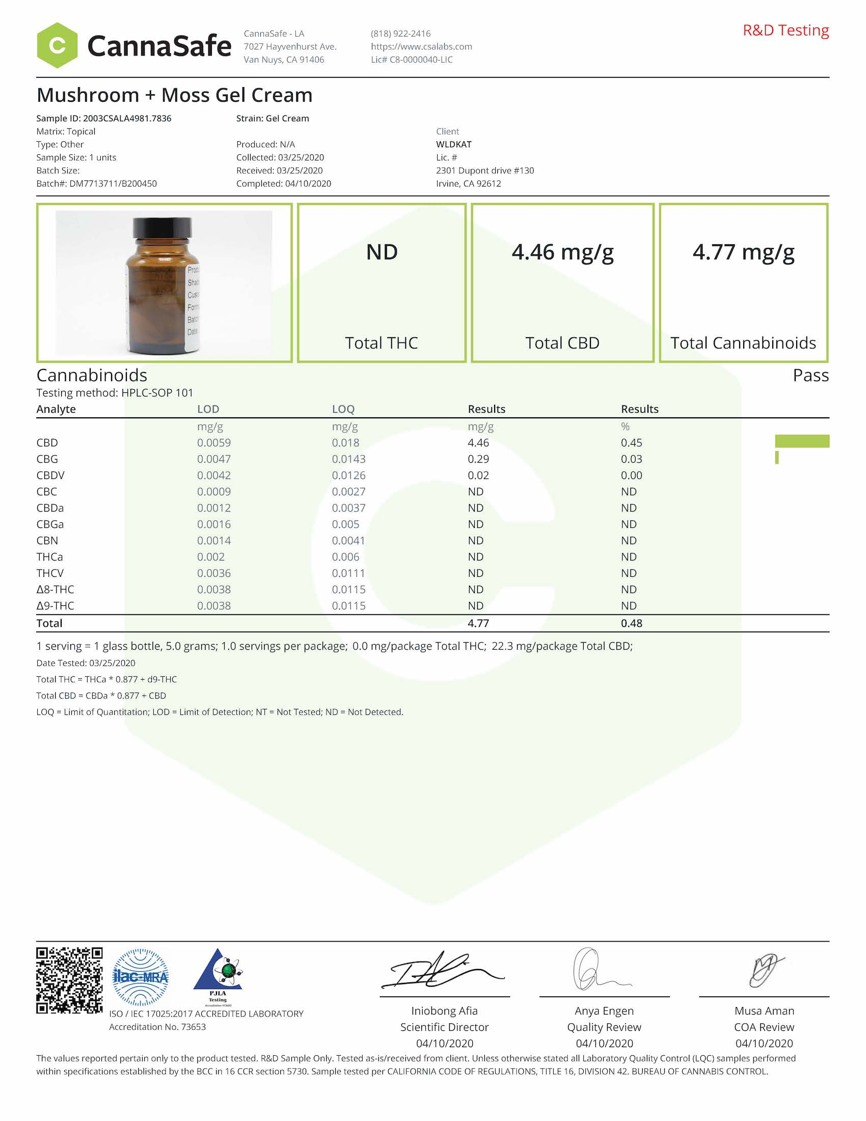 Mushroom + Moss Gel Cream Certificate of Analysis