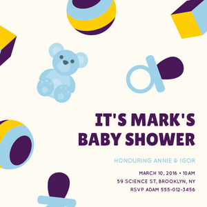 Teddy bear Baby shower invitations Personalized for any event with your details