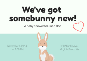 Baby shower invitations Somebunny new Personalized for any event with your details.
