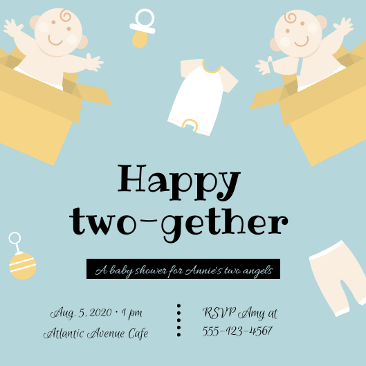 Happy two-gether twins Baby shower invitations Personalized for any event with your details