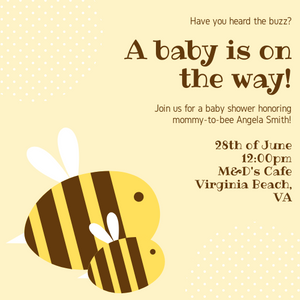 Mommy-to-bee themed invitations Personalized for any event with your details