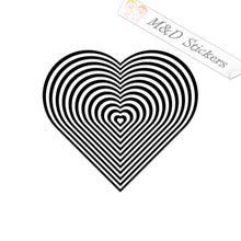 2x Heart Hypnotize Vinyl Decal Sticker Different colors & size for Cars/Bikes/Windows