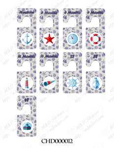 Naval themed Baby clothes closet dividers. Newborn - 4T. CHD000012