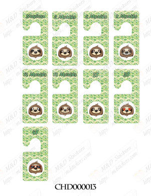 Sloth themed Baby clothes closet dividers. Newborn - 4T. CHD000013