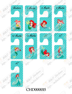 Baby clothes closet dividers. Ariel mermaid themed. Newborn - 4T. CHD000015