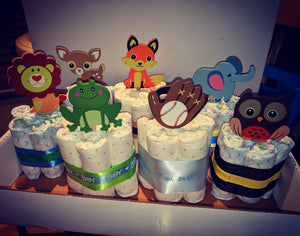 Mini diaper cakes with the topper