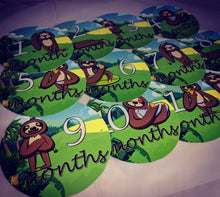 Monthly baby stickers. Sloth themed Unisex onesie belly month stickers.