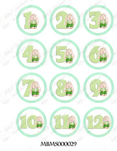 Bunny with numbers themed monthly bodysuit baby stickers
