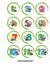 Pandas with numbers themed monthly bodysuit baby stickers