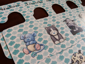 Baby clothes closet dividers. Patched stuffed animals. Newborn - 4T. CHD000016