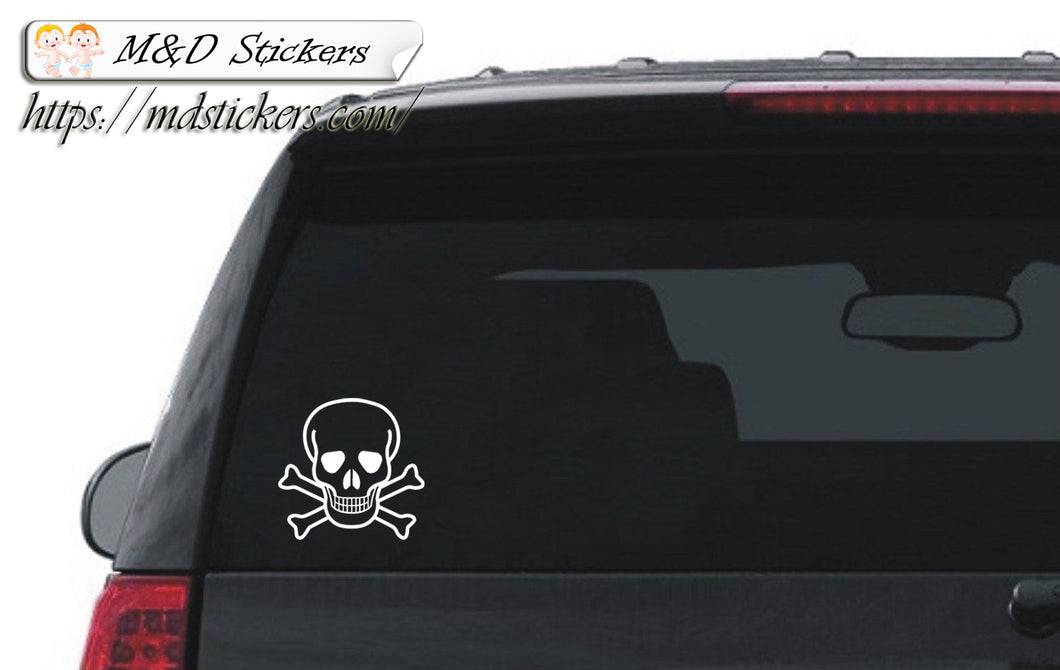 Auto Car Truck SUV Vinyl Decal Skull and Bones Laptop Window 7