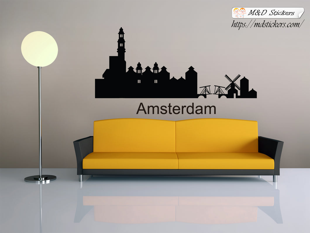 Biggest cities in the world series Wall Stickers Vinyl Decal Amsterdam Holland Netherlands Europe