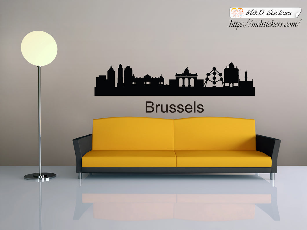 Biggest cities in the world series Wall Stickers Vinyl Decal Brussels Belgium Europe